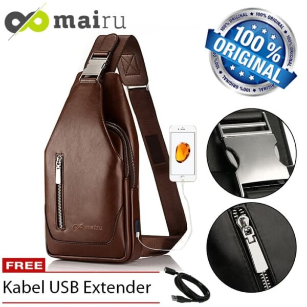 Tas Selempang Slempang Pria Kulit Sling Bag USB Charger Anti Maling V2
