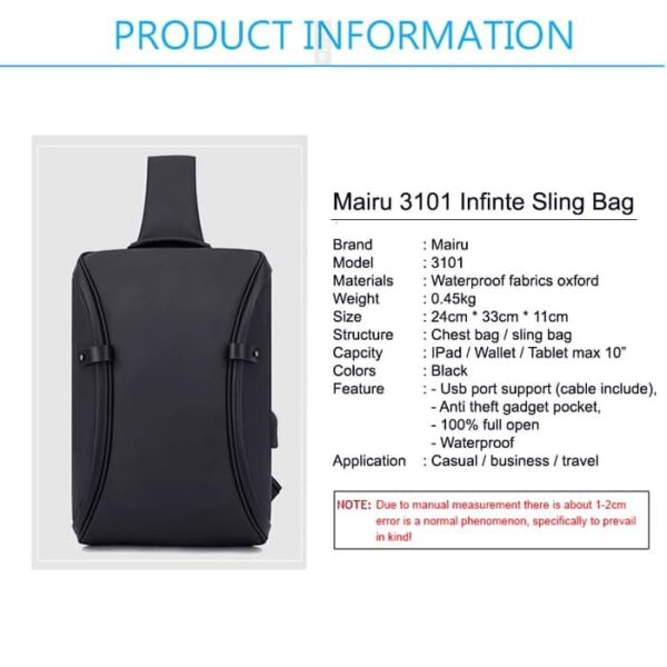 Mairu 3101 Infinite Tas Selempang Anti Maling Pria Travel Sling Bag