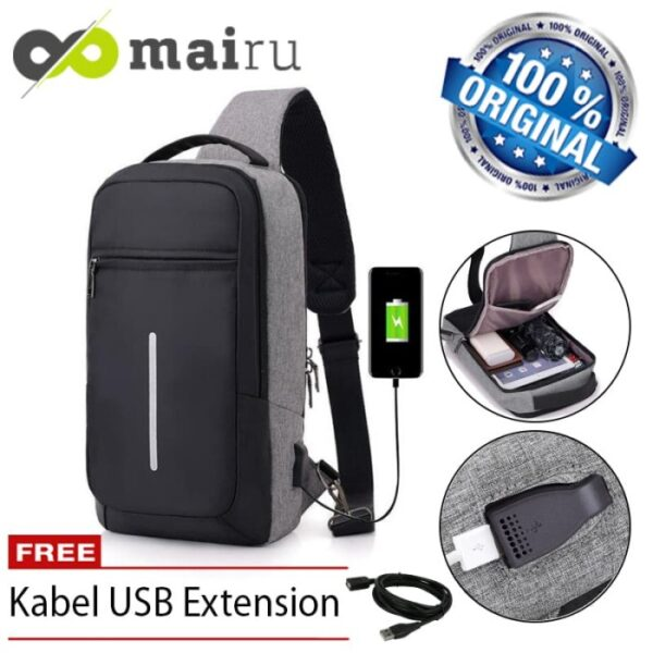 Mairu Tas Selempang Sling Bag Anti Maling Cross Body With USB SB-XDE