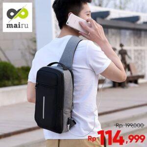 Mairu Tas Selempang Sling Bag Anti Maling Cross Body With USB SB-XDE
